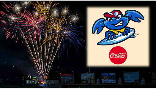 Jersey Shore BlueClaws logo with fireworks in the background