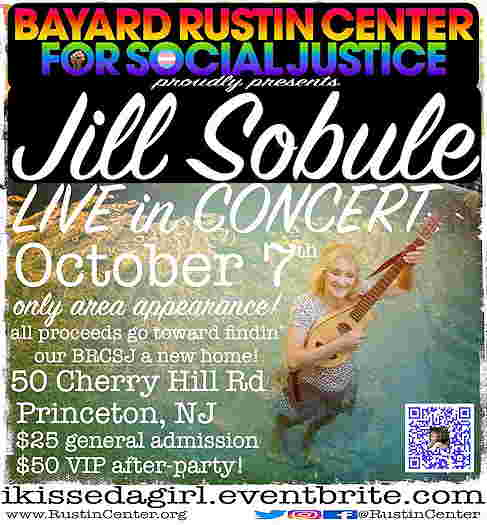Jill Sobule picture on the event flyer. Text information.