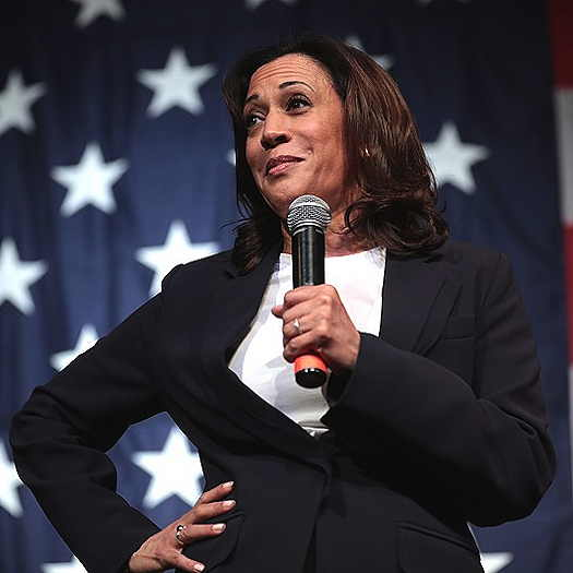 Kamala Harris holding a microphone with a USA flag in the background