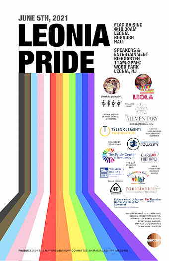 Leonia Pride 2021 flyer with list of supporters