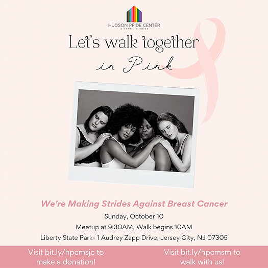 Event flyer in light pink with the breast cancer awareness ribbon in the upper right along with a photo of four women embracing each other in support