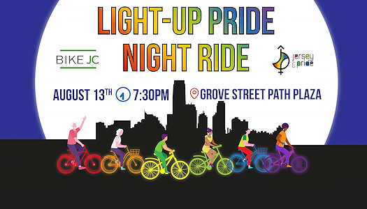 Light-Up Pride Night Ride with illustrated rainbow bicycles