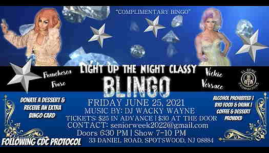 Light Up The Night Classy Blingo flyer with the hosting drag queens