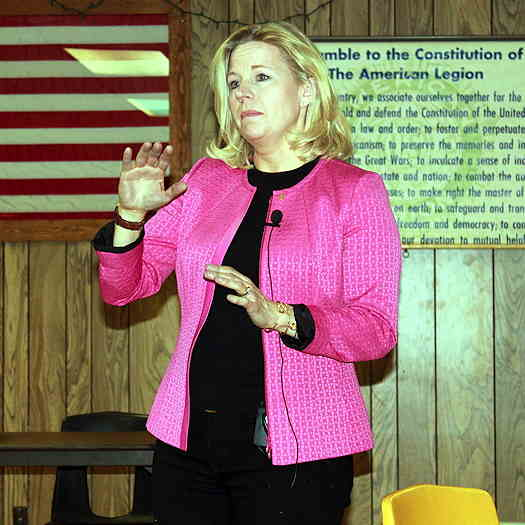 Liz Cheney wearing a black outfit with a pink jacket