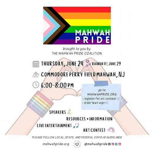 Mahwah Pride Celebration 2021 event flyer