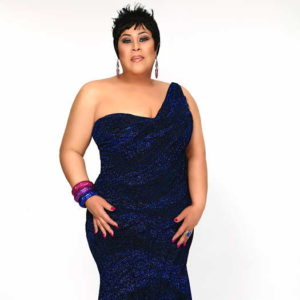 Martha Wash wearing black and blue dress