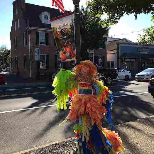 Medford Pride on Main's rainbow scarecrow on Main.
