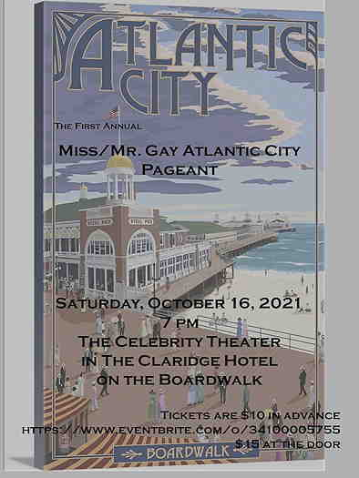 Miss & Mr. Gay Atlantic City 2022 Pageant textual event flyer