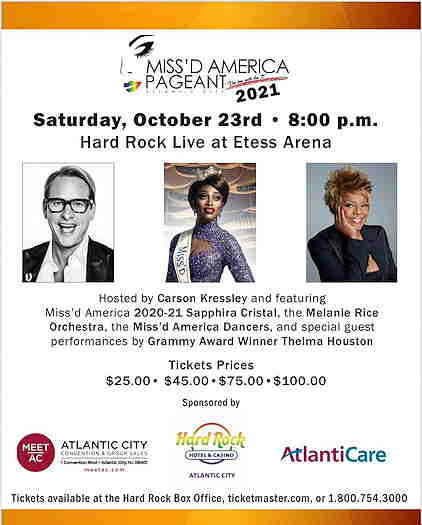 Carson Kressley, Sapphira Cristal and Thelma Houston on the flyer with the Miss'd America logo