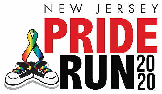 New Jersey Pride Run logo with ribbon and sneakers