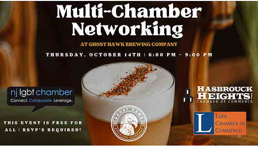 Multi-Chamber Oktoberfest Networking even flyer with a drink in the background