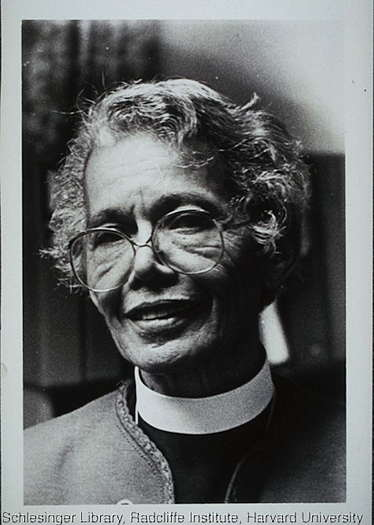 A portrait of Pauli Murray wearing her clerical collar