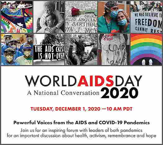 World AIDS Day logo with details about the event listed