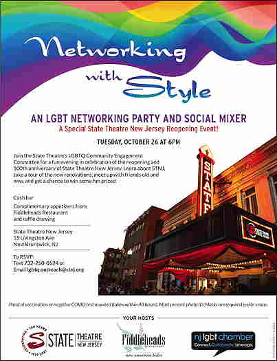 Networking With Style: An LGBT Networking Party & Social Mixer event flyer with the State Theater in the background