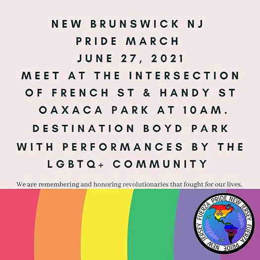 New Brunswick Pride March 2021 textual flyer with a rainbow on the bottom