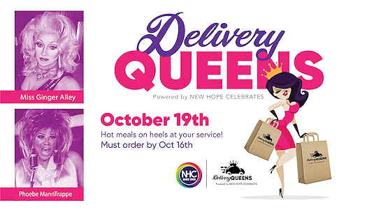 elivery Queens cartoon drag queen carrying bags