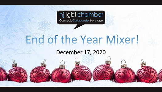NJ LGBT Chamber logo with red Christmas ornaments along the bottom in a row
