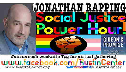 Jonathan Rapping event flyer with picture and text about event