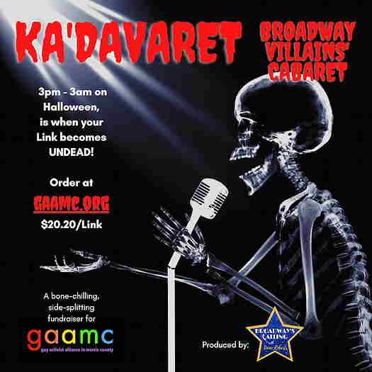 Ka'Davaret Broadway Villains' Cabaret flyer with a singing skeleton