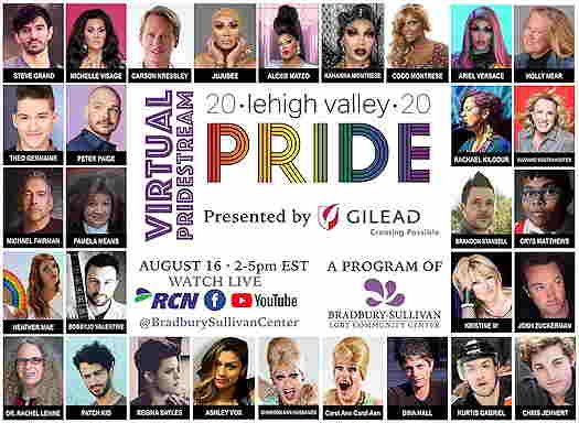 Lehigh Valley Pride 2020 Virtual Pridestream flyer with pictures of performers