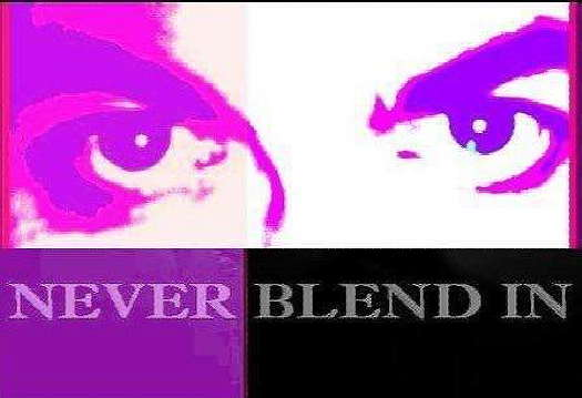 Two eyes colorized in purple over looking the title Never Blend In