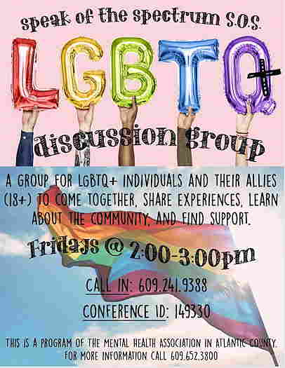 LGBTQ+ Discussion Group for Mental Health Association in Atlantic County