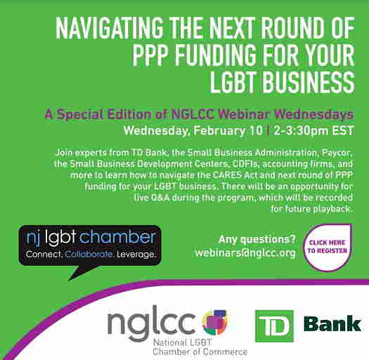 Navigating The Next Round Of PPP Funding For Your LGBT Business flyer