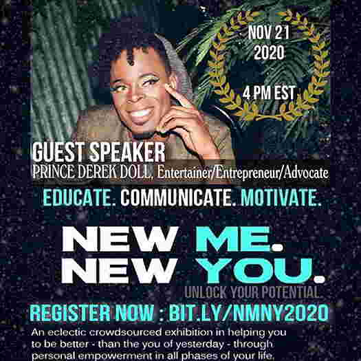Prince Derek Doll on the flyer for New Me. New You.