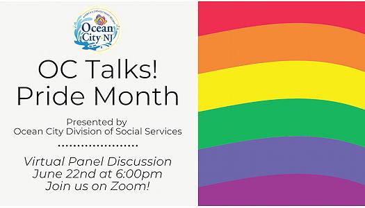 Ocean City Talks! Pride Month flyer for online event