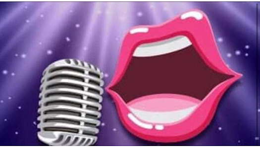 Animated mouth singing onto a microphone