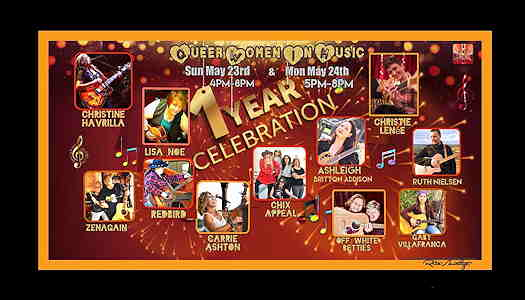 Queer Women In Music One Year Celebration flyer with pictures of the musicians
