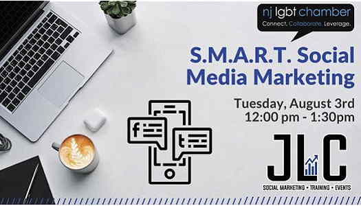 S.M.A.R.T. Social Media Marketing For Your Business event flyer with a cup of coffee and laptop