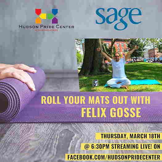 Felix Gosse sitting on a yoga mat outside