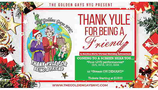 A Golden Girls Holiday Musical Adventure festive flyer