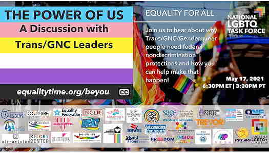 The Power Of Us: A Discussion With Trans & GNC Leaders flyer with all the supporters listed