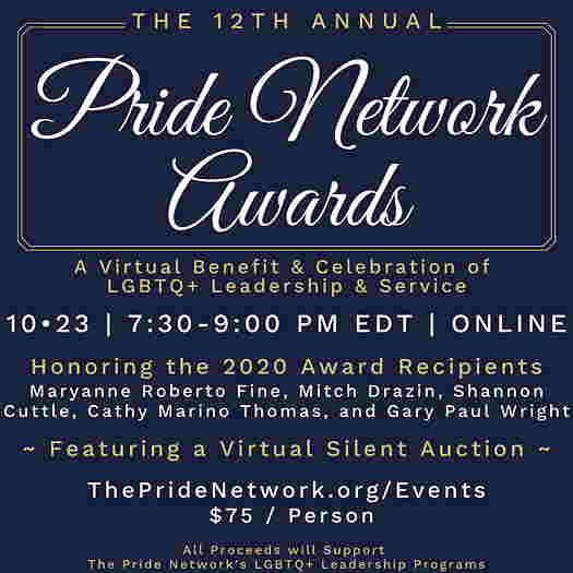 The Pride Network Awards 2020 flyer describing the event