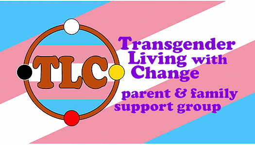 Transgender Living With Change flyer with the transgender flag in background