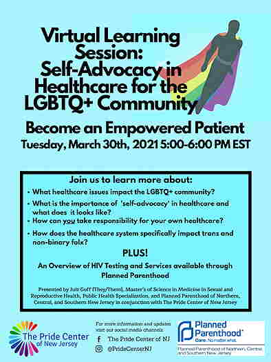 Online Event: Virtual Learning Session: Self-Advocacy in Healthcare for the LGBTQ+ Community flyer