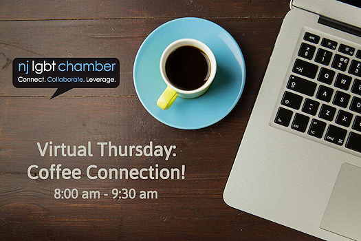 Virtual Thursdays: Coffee Connection! (cup of coffee and laptop sitting on table)