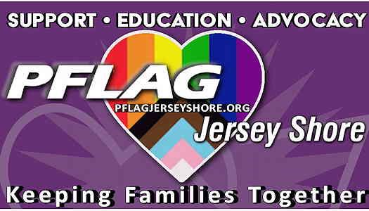 PFLAG logo with a purple background and a progressive LGBTQ+ flag shaped like a heart