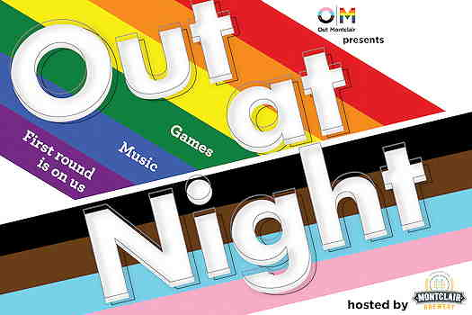 Out At Night event flyer with progressive pride flag in the background