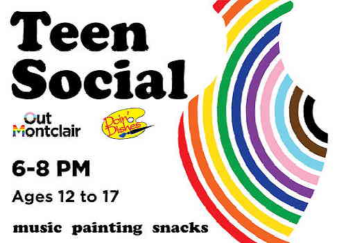 Out Montclair Teens event flyer, rainbow lines that form a vase