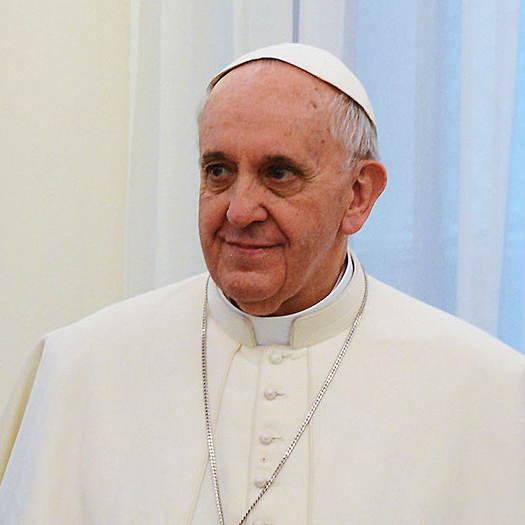 Pope Francis wearing white