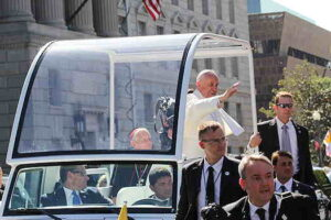 Pope Francis in bullet proof bubble car
