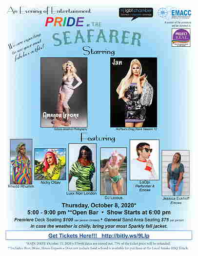 Pride at The Seafarer in Highlands flyer with list of drag queens and entertainers