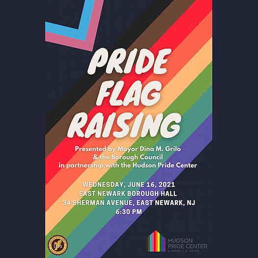 Pride Flag Raising event flyer
