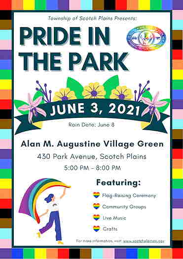 Pride In The Park 2021 flyer with details of event
