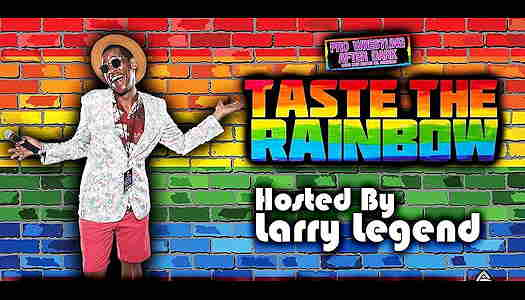 Event flyer with Larry Legend in front of a rainbow brick wall