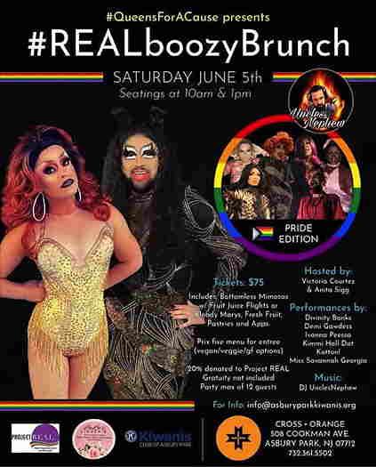 #REALboozyBrunch flyer with drag queens