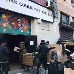 Donations being taken into a community church